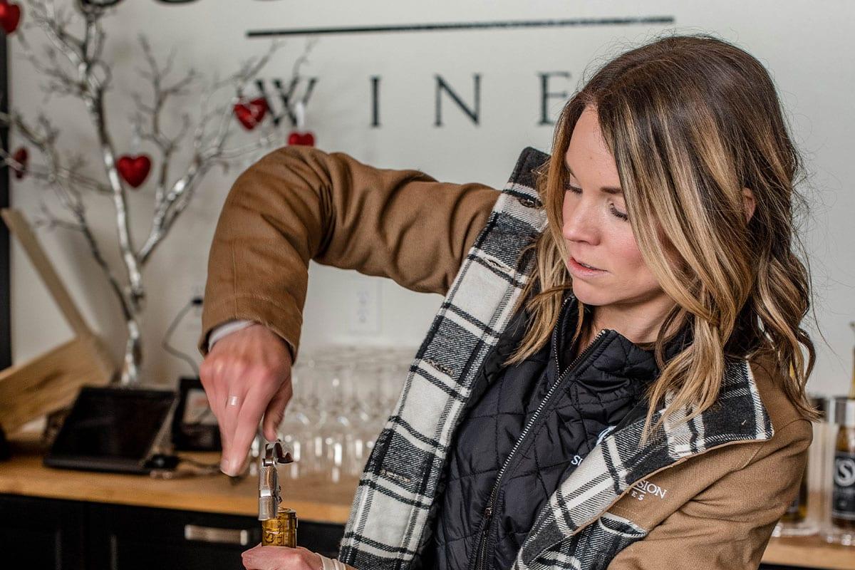 Wine tasting opening bottle
